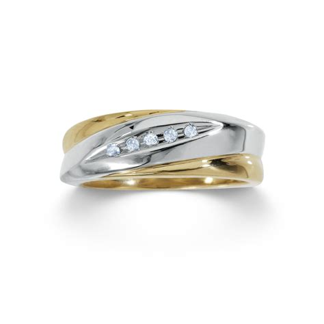 18k gold over sterling silver mens wedding band with diamond accents size 10 5 only jewelry