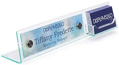 custom desk name plate card holder 8x2 acrylic name plates clear finish with silver standoffs