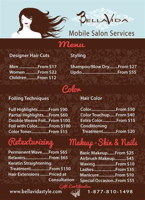 menu bella vida style mobile salon mobile salon