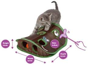 cat toys hunt for undercover mouse and crinkly sound