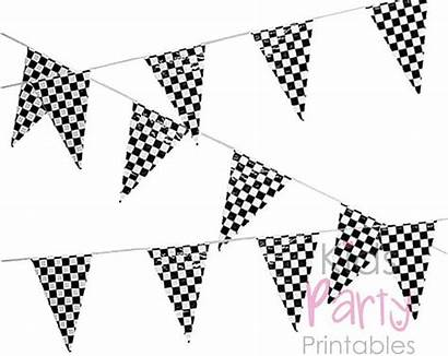 Flags Printable Race Racing Birthday Coloring Pennants