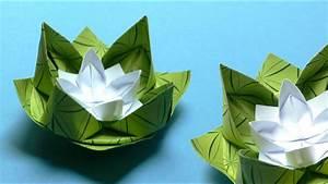 Servietten Blumen Falten : origami blumen falten 02 seerose youtube ~ Watch28wear.com Haus und Dekorationen