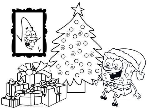 Spongebob Christmas Printable Coloring Pages Happy Holidays