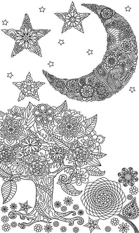 coloring pages adult moon tree sun adults mandala stars colouring leaf printable star books doodle sheets print