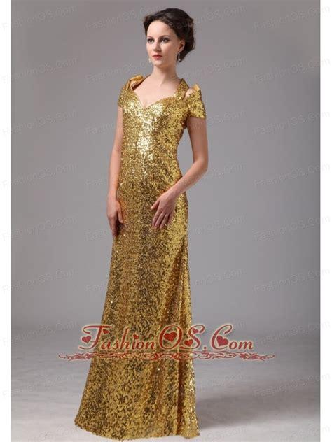 Gold Paillette Over Skirt V-neck Cap Sleeves Prom ...