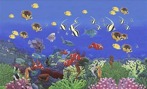 wonders of the sea wall mural c868