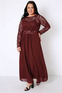 Wine Lace Maxi Dress With Embellished Waist Plus Size 16 to 32