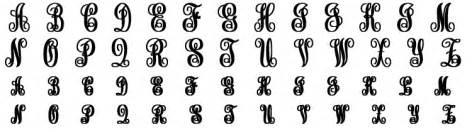 last name monogram personalized gold vine font initial monogram necklace