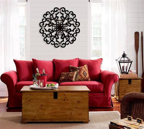 red couch   neutral living room red sofa living room