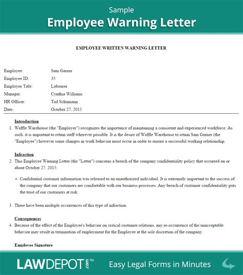 employee warning letter template  lawdepot