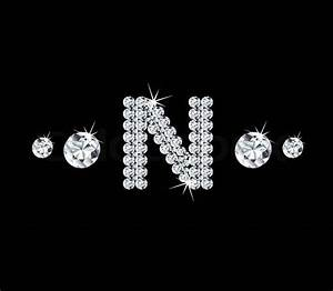 Diamond vector alphabetic letter 'N' with bright stars and ...
