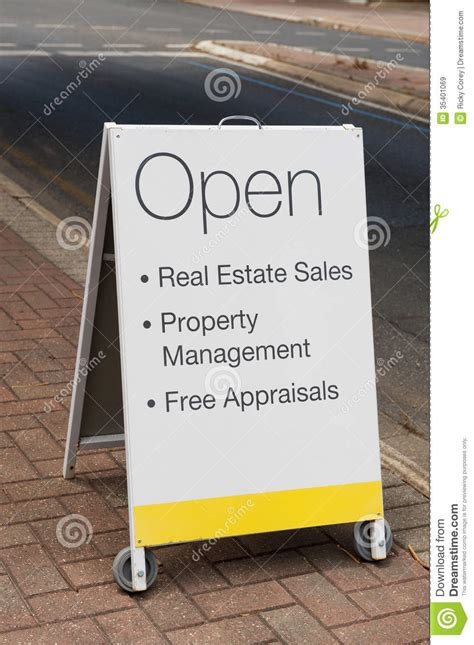 real estate sandwich board royalty  stock images