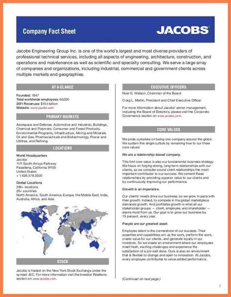 company fact sheet template company letterhead
