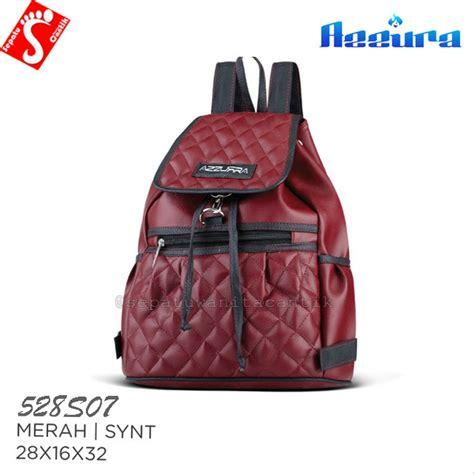 jual tas ransel punggung wanita terbaru branded murah sintetis merah 528s27 tas kuliah sekolah