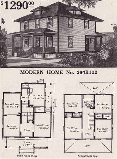 sears house plans modern home  prairie box foursquare