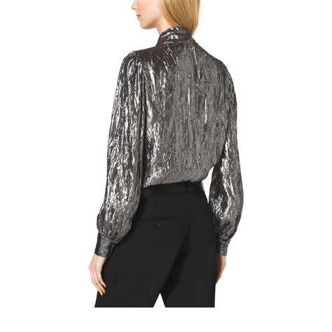 silver blouse michael kors crushed silk lamé wrap blouse in metallic lyst