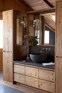 les beaux exemples de salle de bain rustique 40 photos With salle de bain pierre et bois