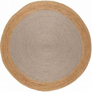 tapis naturel rond en jute gris clair tisse a la main With tapis rond naturel