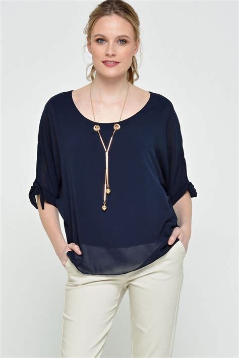 navy blouses made in italy viola chiffon necklace blouse in navy