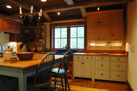 Primitive Decor Kitchen Cabinets by Central Kentucky Log Cabin Primitive Kitchen Eclectic