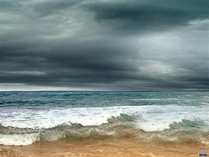 Waves Beach Stormy Sea Rain Clouds Skies