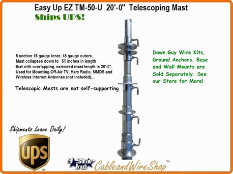 ft telescoping antenna mast push  pole  tv wifi ham easy  tm   ebay