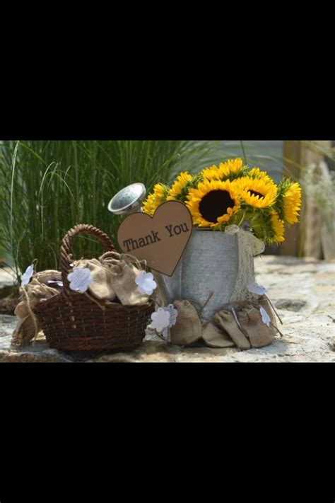 sun flower bucket  favors  country