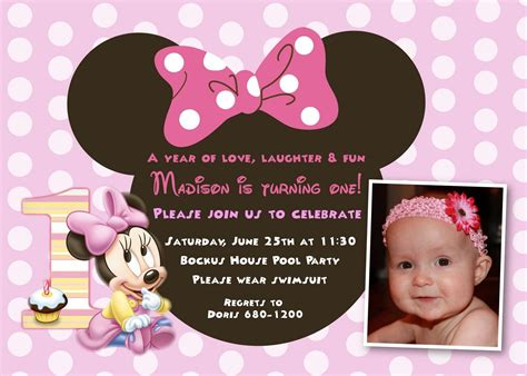 happy 1st birthday card template cool minnie mouse birthday invitations designs