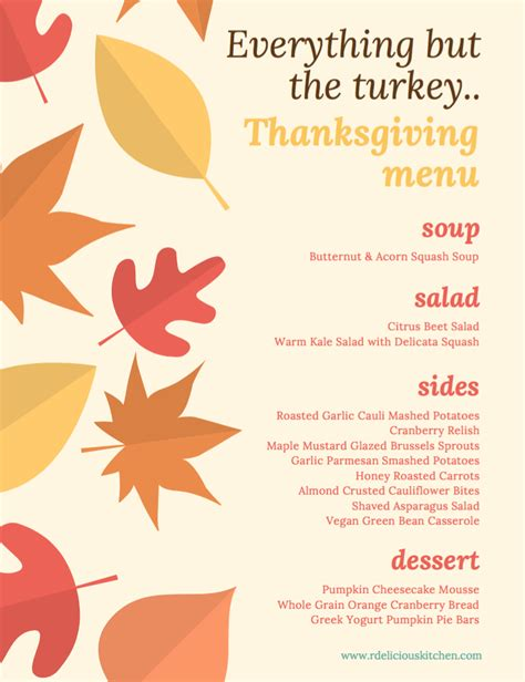 Kitchen Kabaret Thanksgiving Menu by Everything But The Turkey Thanksgiving Menu Chef Julie