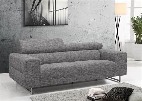 canape gris canapé 3 places tissu design gris avec dossiers hauts gris