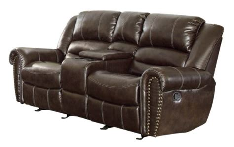 Leather Dual Reclining Loveseat With Console by Homelegance 9668brw 2 Glider Reclining Loveseat
