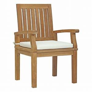 Modway, Marina, Patio, Teak, Outdoor, Dining, Chair, In, Natural, With, White, Cushions