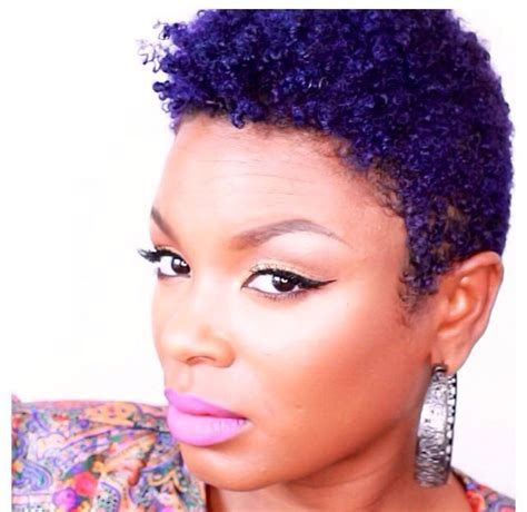 Short Natural Hairstyles With Color On Dark Skinned Women