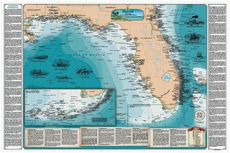 laminated florida gulf shipwreck chart nautical map ebay