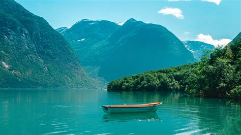 Download Wallpaper 1920x1080 Boat Mountains Lake Water