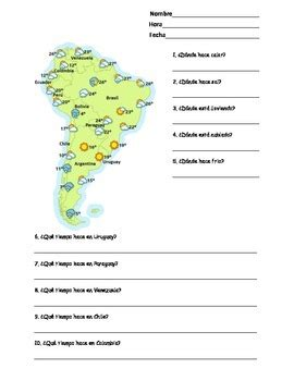 spanish south america weather map worksheet tiempo en