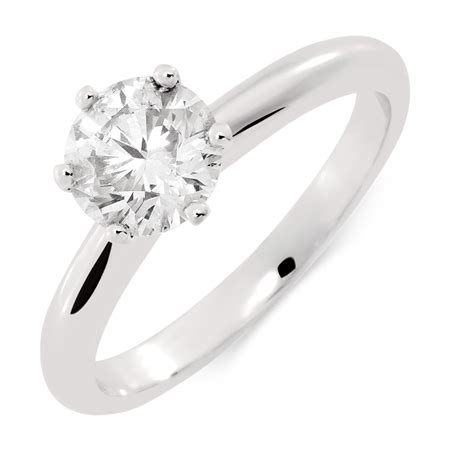 certified solitaire engagement ring with a 1 carat tw in 18ct white gold
