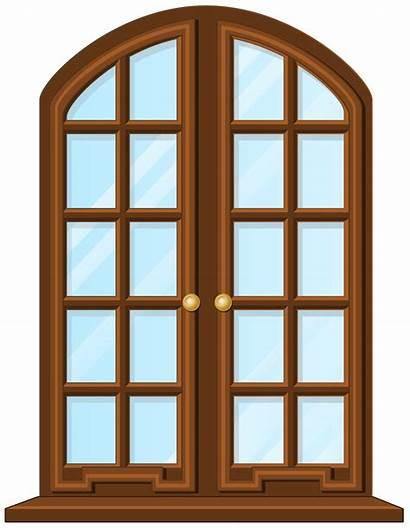 Window Clip Clipart Transparent Brown Door Windows