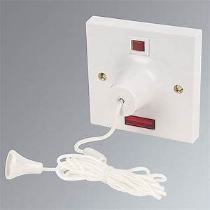 45 Amp Pull Cord Ceiling Switch And Neon White