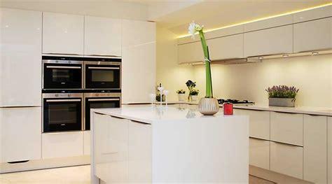 Oak Kitchen Island - high gloss white kitchen with white quartz worktops haywards heath