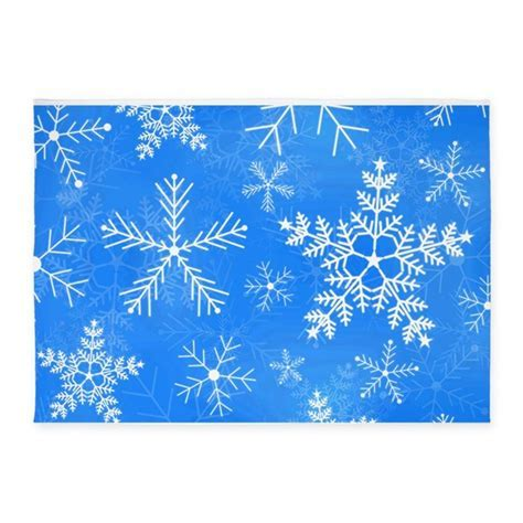 Blue and White Snowflake Pattern 5'x7'Area Rug by