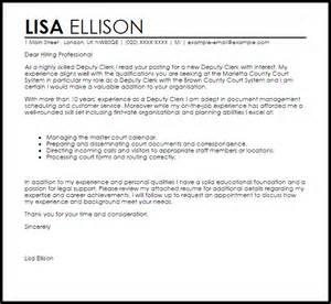 Deputy Clerk Resume Sle by Deputy Clerk Cover Letter Sle Livecareer