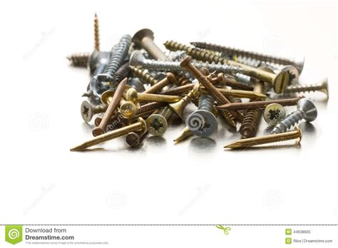 Metal Screws And Nails Stock Photo