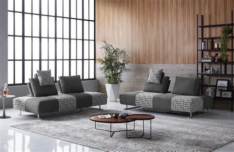 Divani Casa Cooke Modern Grey Houndstooth Fabric Modular