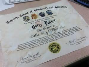 Harry Potter Hogwarts Diploma