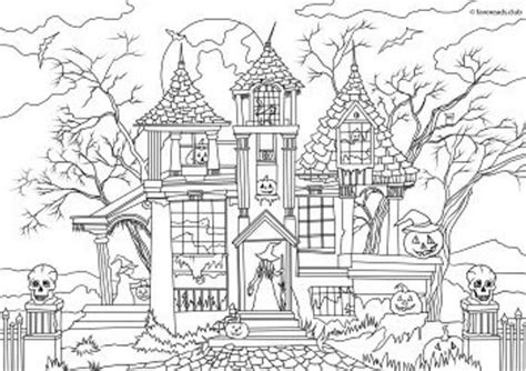 haunted house printable adult coloring page  favoreads coloring book pages  adults