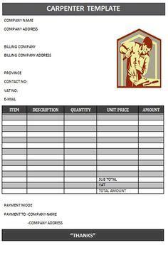 carpenter invoice templates images invoice