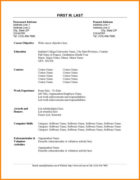 Simple Resume Sle by 8 Cv Sle For Fresh Graduate Doc Theorynpractice