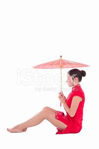 Young Attractive Sitting Woman IN Red Japanese Dress With ...