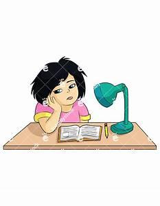 Bored Girl Sitting At Her Desk Not Doing Homework Clipart ...